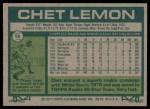 1977 Topps #58  Chet Lemon  Back Thumbnail