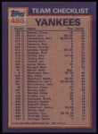 1984 Topps #486   -  Ron Guidry / Don Baylor Yankees Leaders & Checklist Back Thumbnail