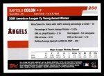 2006 Topps #260   -  Bartolo Colon AL Cy Young Award Back Thumbnail