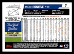 2006 Topps #7  Mickey Mantle  Back Thumbnail