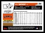 2006 Topps #54  Mike Matheny  Back Thumbnail