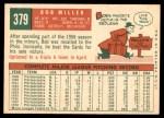 1959 Topps #379  Bob Miller  Back Thumbnail
