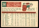 1959 Topps #241  Billy Muffett  Back Thumbnail