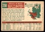 1959 Topps #250  Billy O'Dell  Back Thumbnail
