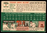 1954 Topps #1 WHT Ted Williams  Back Thumbnail