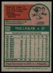 1975 Topps #275  Paul Blair  Back Thumbnail