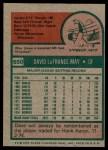 1975 Topps #650  Dave May  Back Thumbnail