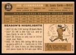 1960 Topps #40  Joe Cunningham  Back Thumbnail