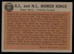 1962 Topps #401   -  Roger Maris / Orlando Cepeda Homer Kings Back Thumbnail