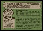 1978 Topps #254  Rickey Young  Back Thumbnail