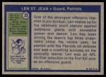 1972 Topps #23  Len St. Jean  Back Thumbnail