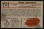 1953 Bowman #44  Frank Continetti  Back Thumbnail
