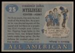 1955 Topps #25  Casimir Myslinski  Back Thumbnail