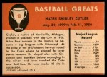 1961 Fleer #19  Kiki Cuyler  Back Thumbnail