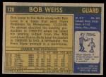 1971 Topps #128  Bob Weiss  Back Thumbnail