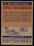 1972 Topps #218  Billy Paultz   Back Thumbnail