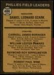 1973 Topps #486 ORG  -  Danny Ozark / Carroll Beringer / Billy De Mars / Ray Rippelmeyer / Bobby Wine Phillies Leaders Back Thumbnail
