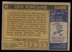 1971 Topps #92  Levi Fontaine   Back Thumbnail