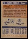 1972 Topps #72  Clem Haskins   Back Thumbnail