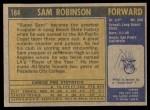 1971 Topps #184  Sam Robinson  Back Thumbnail