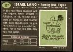1969 Topps #107  Israel Lang  Back Thumbnail