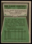 1975 Topps #245  Claude Humphrey  Back Thumbnail