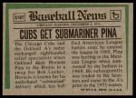 1974 Topps Traded #516 T  -  Horacio Pina Traded Back Thumbnail