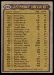 1979 Topps #319   Redskins Leaders Checklist Back Thumbnail