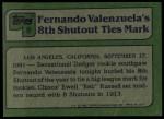 1982 Topps #6   -  Fernando Valenzuela  Highlights Back Thumbnail