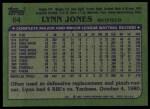 1982 Topps #64  Lynn Jones  Back Thumbnail