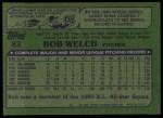 1982 Topps #82  Bob Welch  Back Thumbnail
