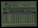 1982 Topps #140  Ron LeFlore  Back Thumbnail