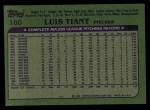 1982 Topps #160  Luis Tiant  Back Thumbnail