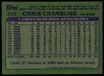 1982 Topps #320  Chris Chambliss  Back Thumbnail