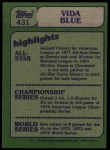 1982 Topps #431   -  Vida Blue In Action Back Thumbnail