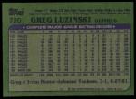 1982 Topps #720  Greg Luzinski  Back Thumbnail