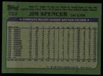 1982 Topps #729  Jim Spencer  Back Thumbnail