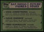 1982 Topps #731   -  Doug Gwosdz / Mike Armstrong / Fred Kuhaulua Padres Rookies Back Thumbnail