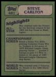 1982 Topps #481   -  Steve Carlton In Action Back Thumbnail