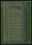 1982 Topps #733  Larry McWilliams  Back Thumbnail