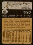 1973 Topps #105  Carlos May  Back Thumbnail
