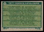 1977 Topps #494   -  Jim Gantner / Bump Wills / Mike Champion / Juan Bernhard Rookie Infielders   Back Thumbnail