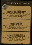 1973 Topps #602   -  Mel Behney / Ralph Garcia / Doug Rau Rookie Pitchers Back Thumbnail
