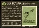 1969 Topps #20  Len Dawson  Back Thumbnail