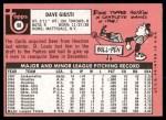 1969 Topps #98  Dave Giusti  Back Thumbnail