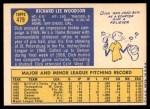 1970 Topps #479  Dick Woodson  Back Thumbnail