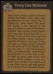 1973 Topps #342   -  Sam McDowell  Boyhood Photo Back Thumbnail