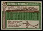 1976 Topps #493  Derrel Thomas  Back Thumbnail
