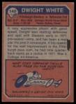 1973 Topps #140  Dwight White  Back Thumbnail