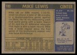 1971 Topps #189  Mike Lewis  Back Thumbnail